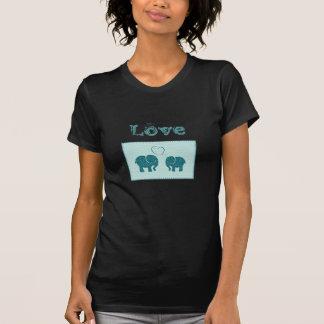 Elefantes románticos lindos de moda en remiendo camisetas
