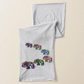 Elefantes vibrantes psicodélicos del ethno de moda bufanda