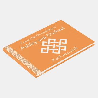 Elegancia china en libro de visitas anaranjado