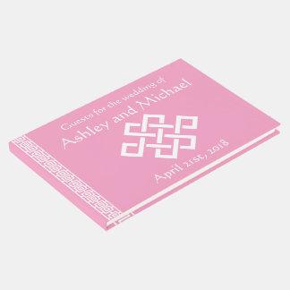 Elegancia china en libro de visitas del rosa del
