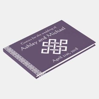 Elegancia china en libro de visitas púrpura