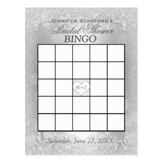 Elegancia de plata nupcial del bingo el | de la postal