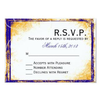 Elegancia del azul y del oro - tarjeta de RSVP