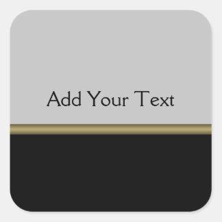 Elegancia del monograma en oro gris negro pegatina cuadrada