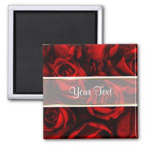 Elegancia del rosa rojo imán de frigorífico