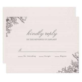 Elegancia floral que casa RSVP Invitación 10,8 X 13,9 Cm