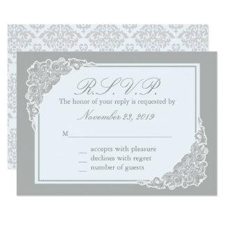 Elegancia gris, tarjetas de la respuesta del invitación 8,9 x 12,7 cm