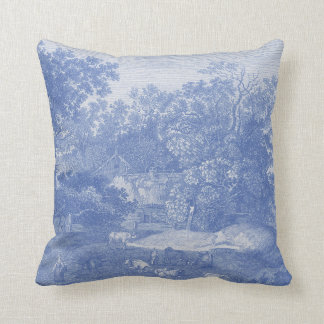 Elegancia lamentable del país Blue Toil de Jouy Cojín Decorativo