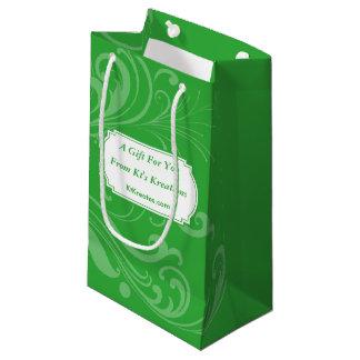 Elegancia verde del día de fiesta de las etiquetas bolsa de regalo pequeña