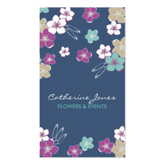 Elegant blue violet hawaiian exotic flowers card   tarjetas de visita