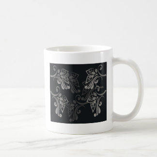 Elegant_patterns_black_flowers_swirls_designs Taza Clásica