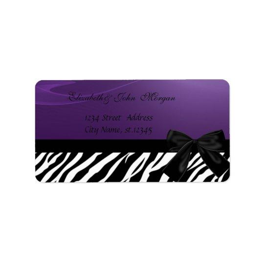 Elegante atractivo elegante, púrpura, estampado de etiquetas de dirección
