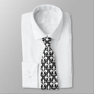 Elegante blanco y negro de la flor de lis corbata personalizada