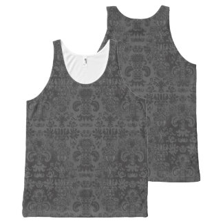 Elegante-Día-a-Noche-Gris-Damasco-Mujer-Tanque-Top Camiseta De Tirantes Con Estampado Integral