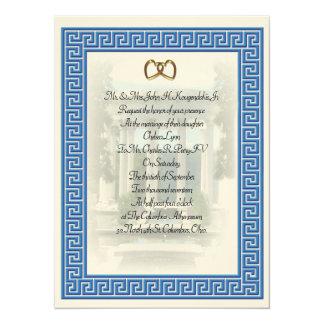 Elegante dominante azul de la invitación griega