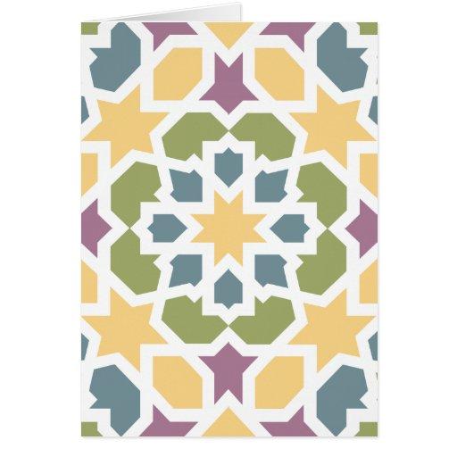 Elegante geometría marroquí amarillo, verde y lila felicitaciones
