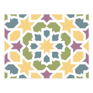 Elegante geometría marroquí amarillo, verde y lila tarjeta postal