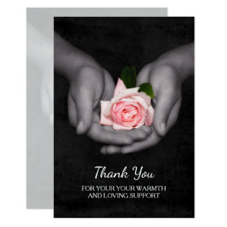Elegante gracias por el rosa de la ayuda subió en invitación 8,9 x 12,7 cm