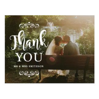 Elegante gracias postal de la invitación de boda