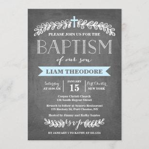 Elegante Laurels Blue  Invitación al bautismo