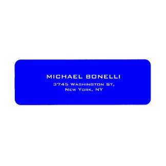 Elegante llano simple del color azul profesional etiquetas de remite
