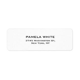 Elegante llano simple del fondo blanco profesional etiqueta de remitente