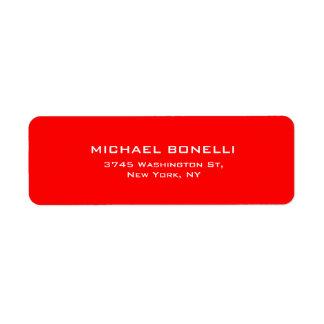 Elegante llano simple profesional del color rojo etiqueta de remite