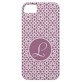 Elegante monograma de geometría púrpura funda para iPhone SE/5/5s