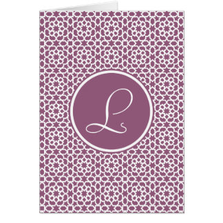 Elegante monograma de geometría púrpura felicitación