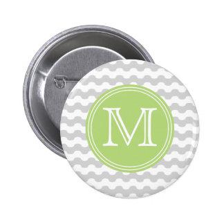 Elegante monograma de líneas onduladas en gris pin