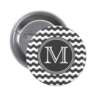 Elegante monograma de líneas onduladas en negro pin