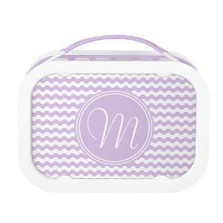 Elegante monograma de líneas onduladas en violeta