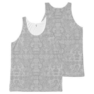 Elegante-Plata--Damasco-Mujer-Tanque-Top Camiseta De Tirantes Con Estampado Integral