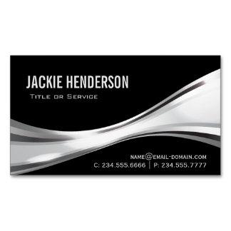 Elegante profesional negro y de plata moderno tarjetas de visita magnéticas (paquete de 25)