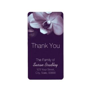 Elegantes púrpuras de la orquídea le agradecen la etiquetas de dirección