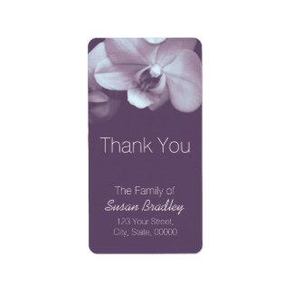 Elegantes purpúreos claros de la orquídea le etiqueta de dirección