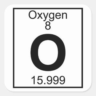 Elemento 008 - O - Oxígeno (lleno) Pegatina Cuadrada