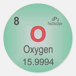 Elemento individual del oxígeno de la tabla pegatina redonda