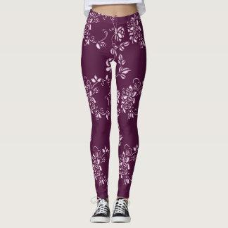 Elemento retro púrpura floral leggings