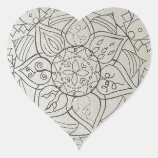 elementos de la mandala pegatina en forma de corazón