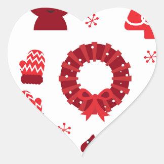 Elementos de Navidad que sorprenden rojos Pegatina En Forma De Corazón