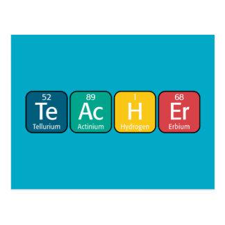 Elementos de tabla periódica que deletrean al prof tarjetas postales