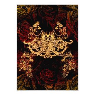 Elementos florales decorativos maravillosos con la invitación 12,7 x 17,8 cm
