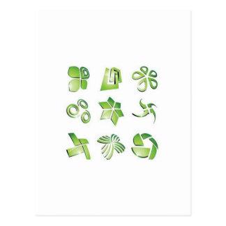 Elementos verdes del icono postal