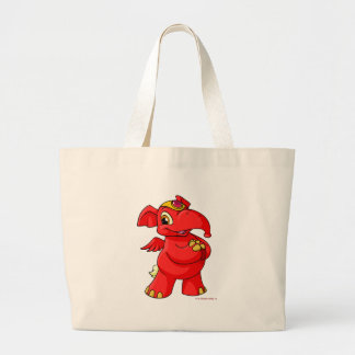 Elephante rojo alegre bolsa tela grande