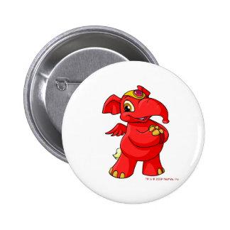 Elephante rojo alegre chapa redonda 5 cm