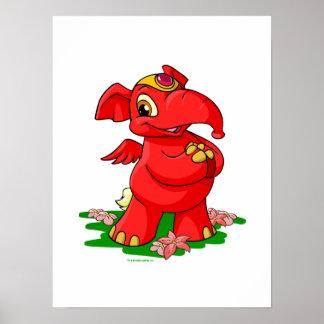 Elephante rojo alegre en Shenkuu Impresiones
