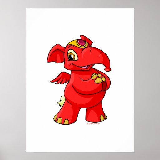 Elephante rojo alegre poster