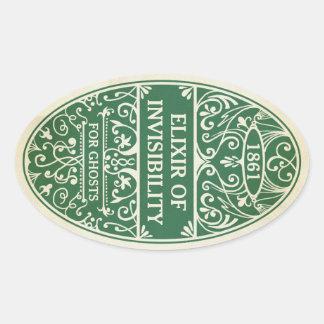 Pegatina Ovalada Elixir verde del pegatina de la poción de la