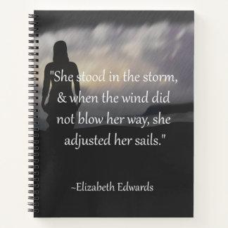 Ella ajustó su cuaderno inspirado de las velas